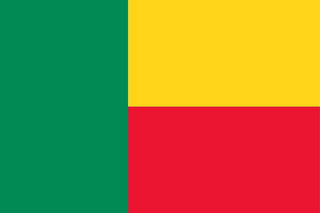 The National Flag of Benin featuring two equal horizontal bands of yellow and red on the right side and a vertical green band on the hoist side.