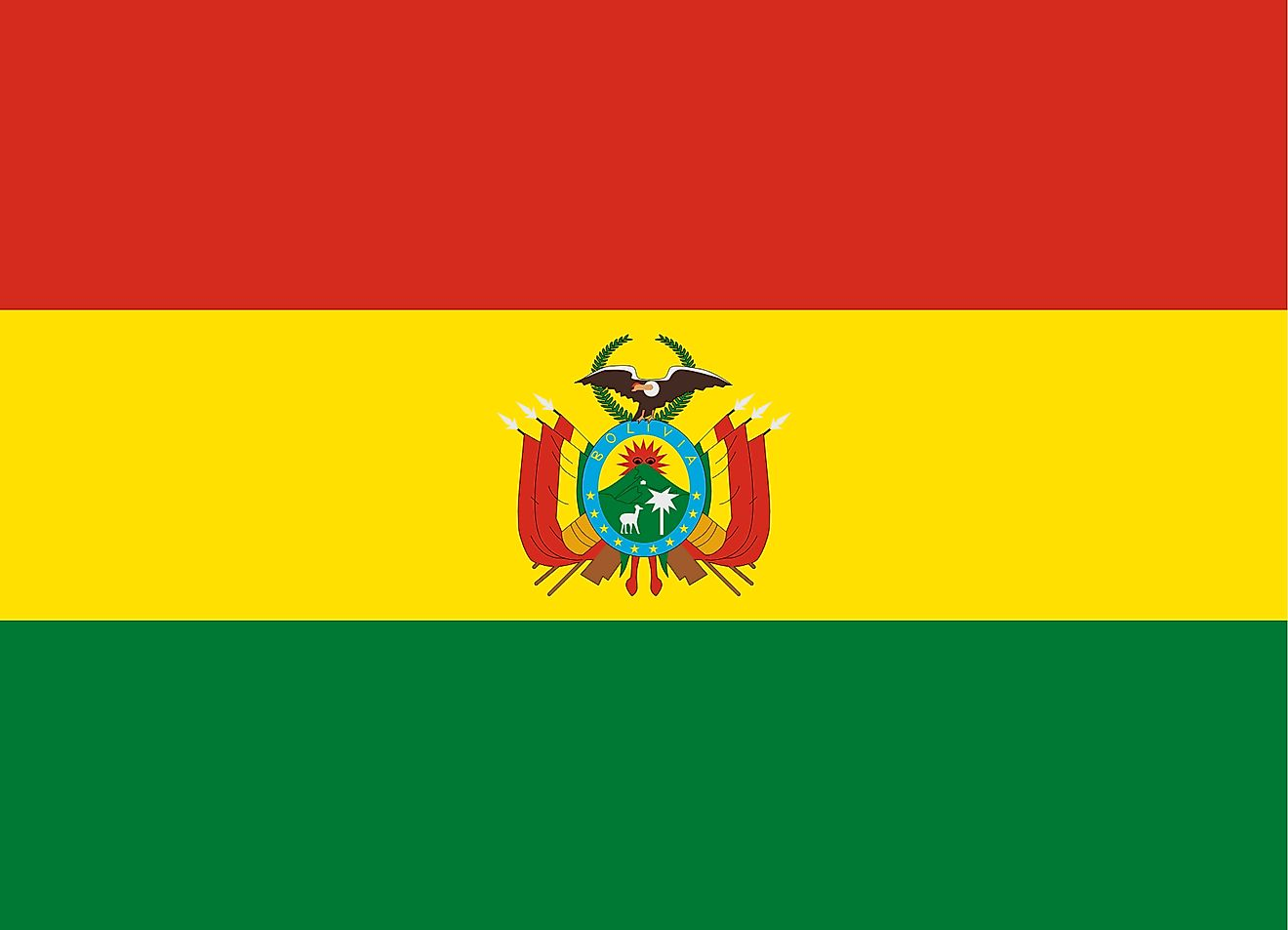 The National Flag of Bolivia with horizontally striped red-yellow-green bands, with the Bolivian Coat of Arms in the central yellow band