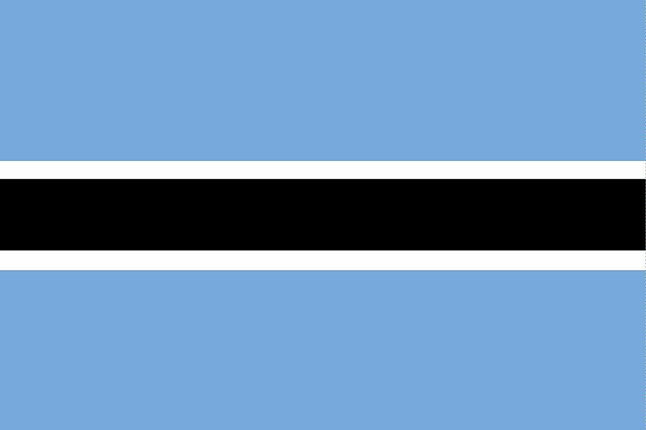The National Flag of Botswana features light blue, black, and white horizontal bands of varying thicknesses.