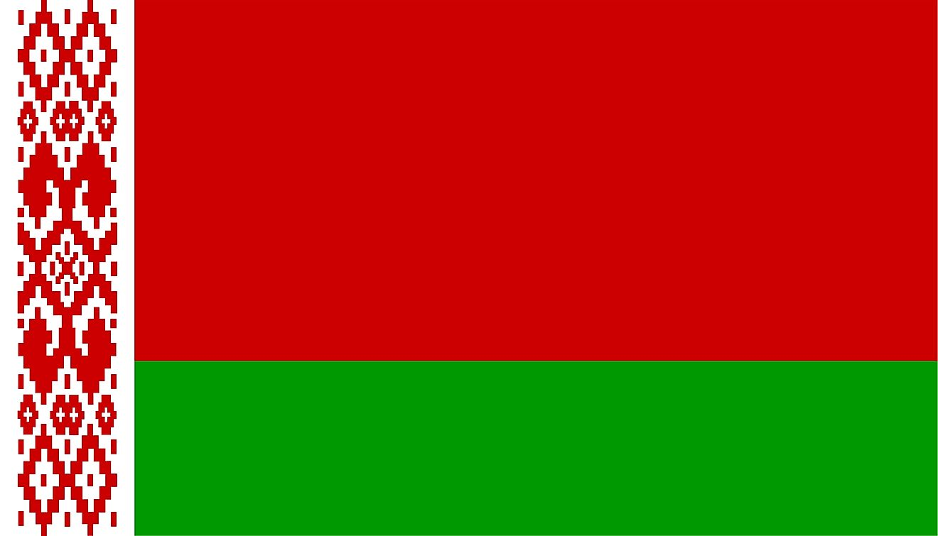 The National Flag of Belarus is rectangular and features a red horizontal band (top) and a green horizontal band with a vertical white-red national ornamentation.