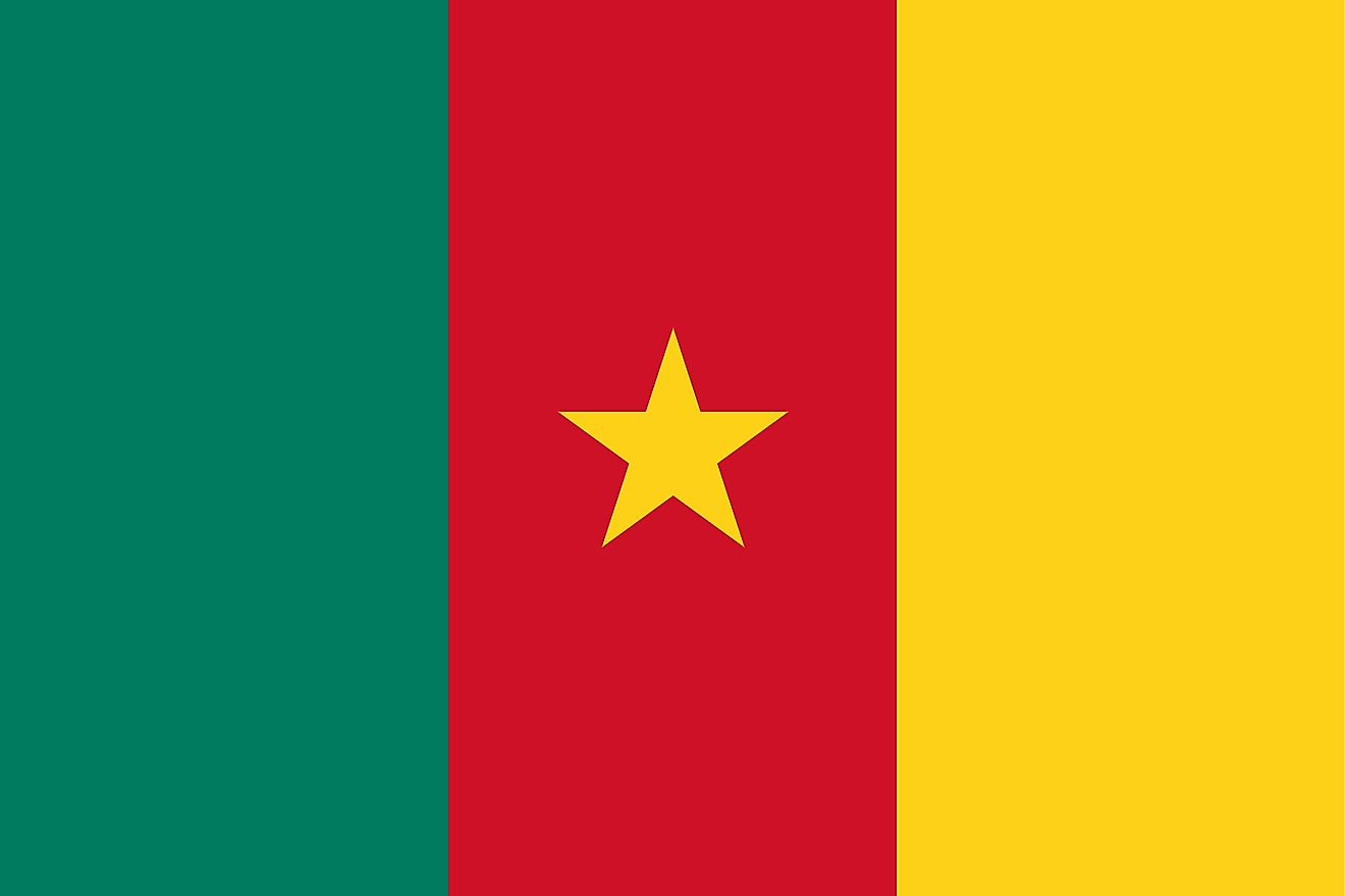 The National Flag of Cameroon is a vertical tricolor featuring three equal vertical bands of green (hoist side), red, and yellow and a five-pointed star in the central red band