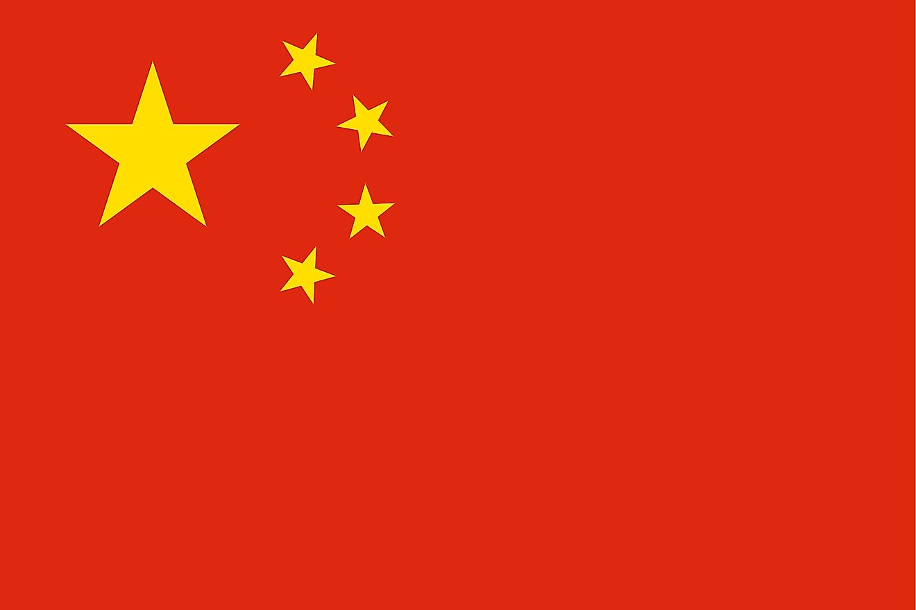 "The National Flag of the People's Republic of China (""Five-star Red Flag"") features a red background with a large yellow star and four smaller stars in the upper hoist-side corner"
