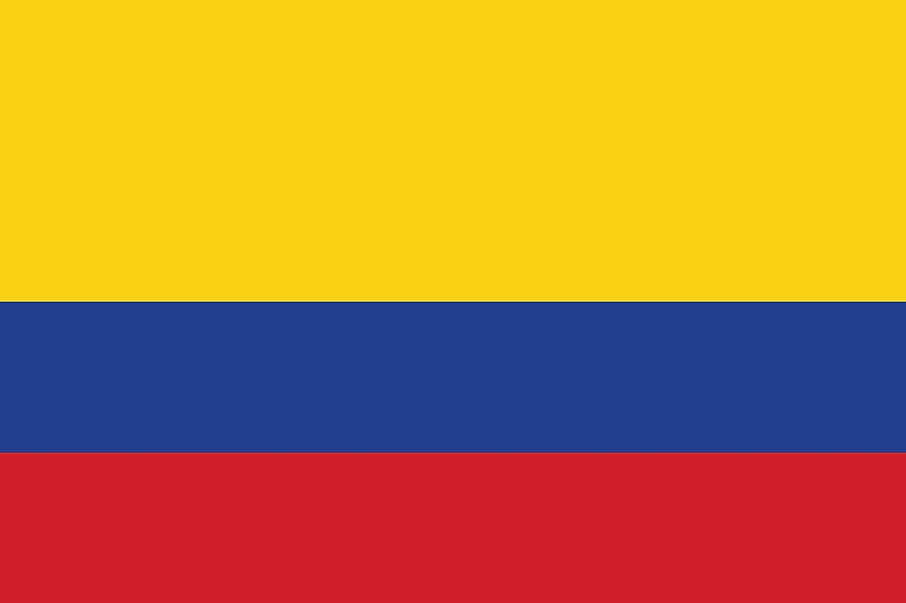 The National Flag of Colombia features three horizontal bands of yellow (top, double-width), blue, and red.