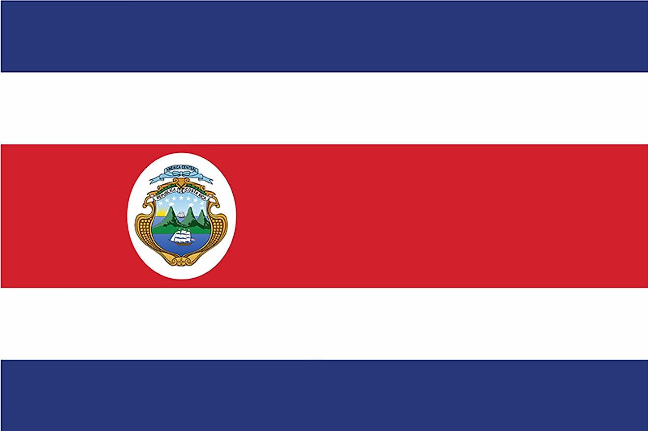 The National flag of Costa Rica is designed as a horizontal rectangle and features five horizontal bands of blue, white, and red.