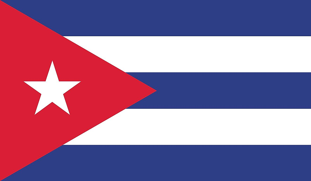 The National Flag of Cuba features three equal horizontal bands of blue (top, center, and bottom) alternating with two white bands.
