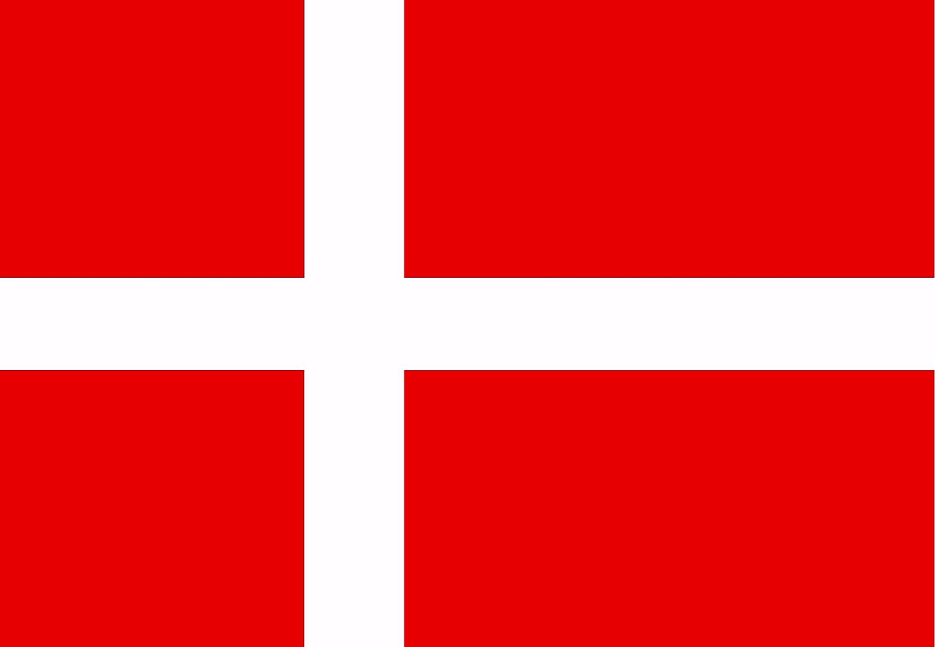 The National Flag of Denmark features a solid red field with a white Scandinavian cross that extends to the edges of the flag.