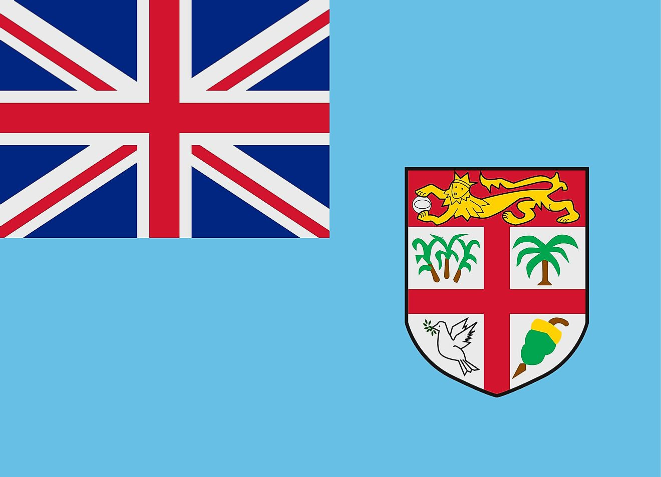 Flag of Fiji has a light blue background and features the British Union Jack on the upper hoist-side and a shield on the fly side.