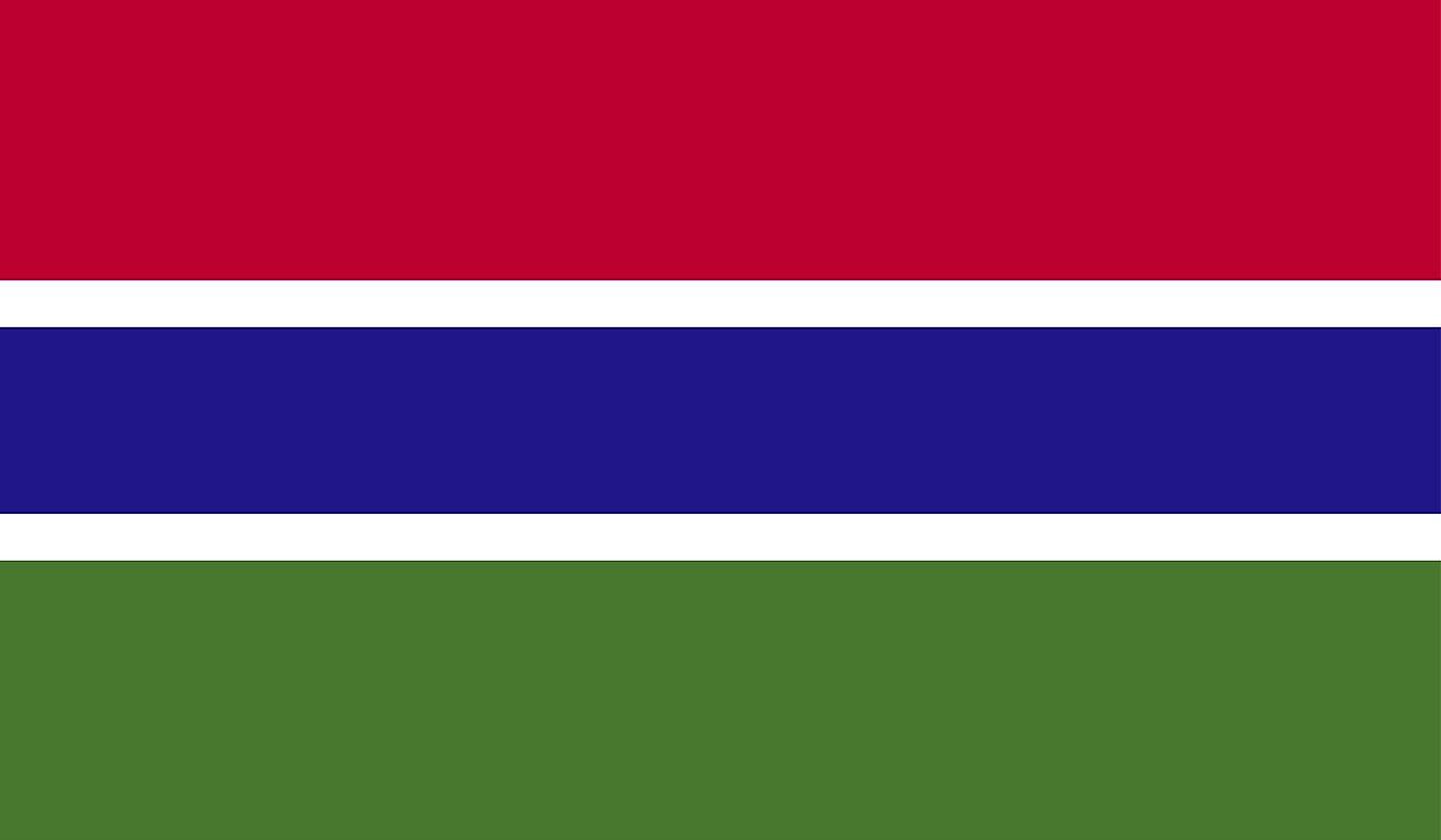 Flag of The Gambia features three horizontal bands of red (top), blue, and green, separated two thin white bands.