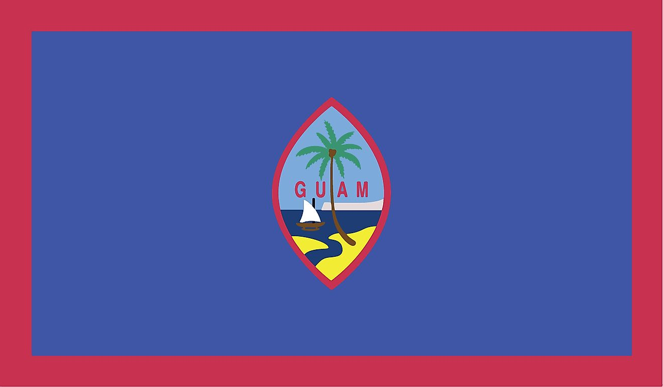 The Territorial Flag of Guam features a dark blue background with a narrow red border on all four sides, with a centrally placed Guam Coat of Arms
