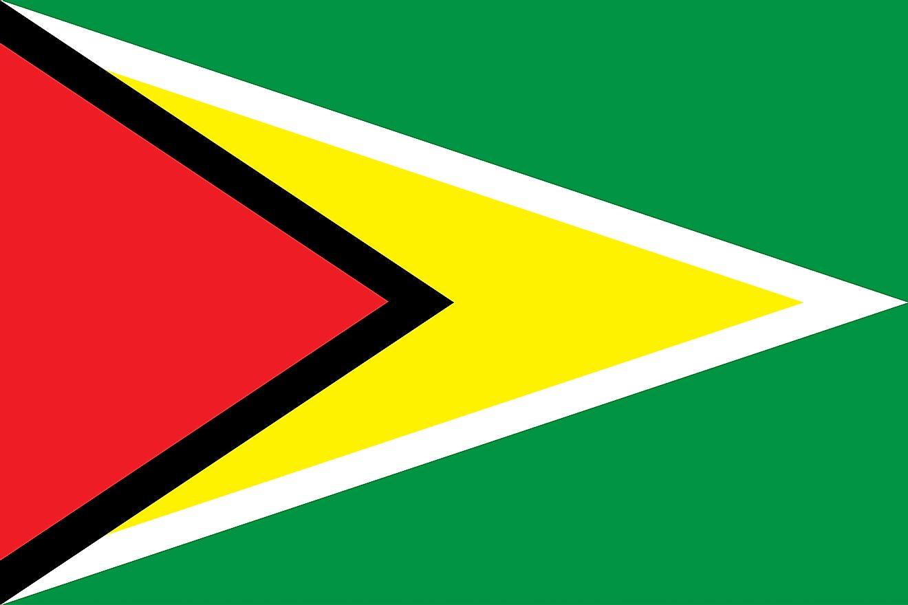 The flag of Guyana features a large green field with red isosceles triangle and black borders superimposed on golden triangle whose edges are white.