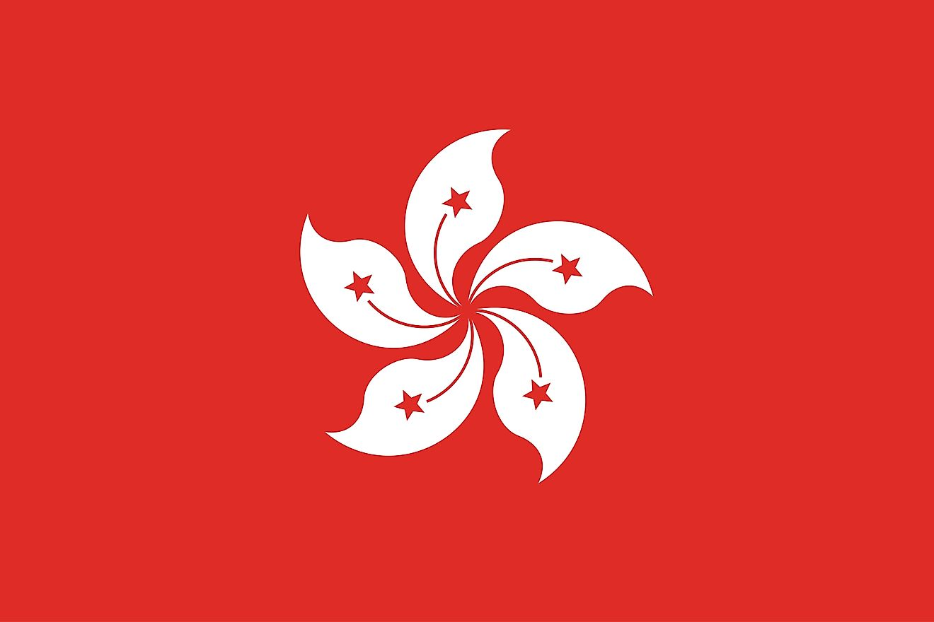 The regional flag of Hong Kong is a stylized white five-petal flower centered on a red background.