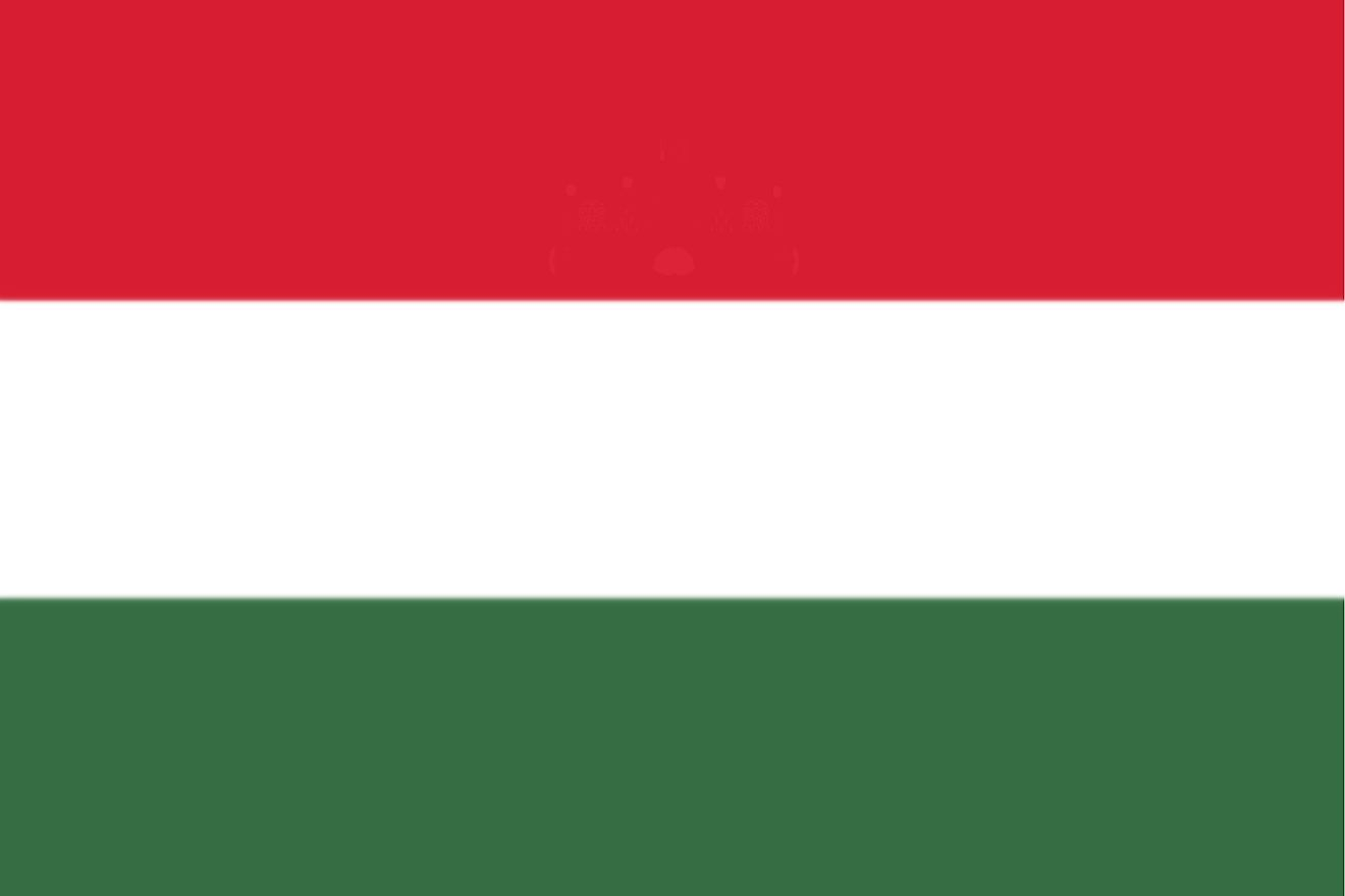 The national flag of Hungary is tricolor flag of red (top), white, and green equal horizontal bands.
