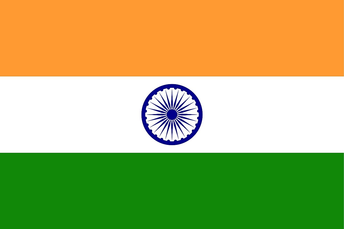 The flag of India is a tricolor flag of saffron (orange), white, and green horizontal bands with blue Ashoka Chakra centered on white.