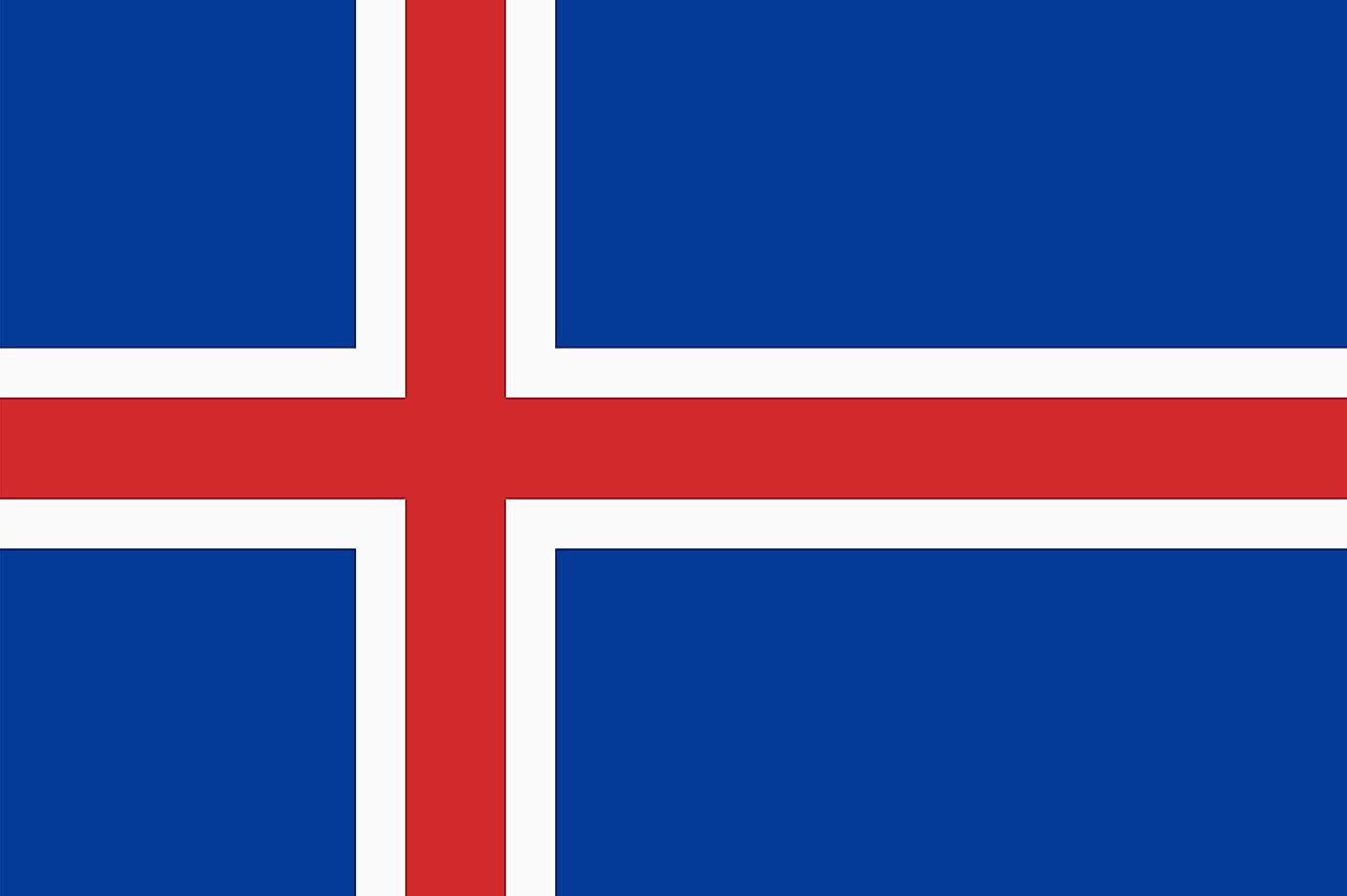 The flag of Iceland features a blue field with a red Nordic cross that has white edges and extends to the edges of the flag