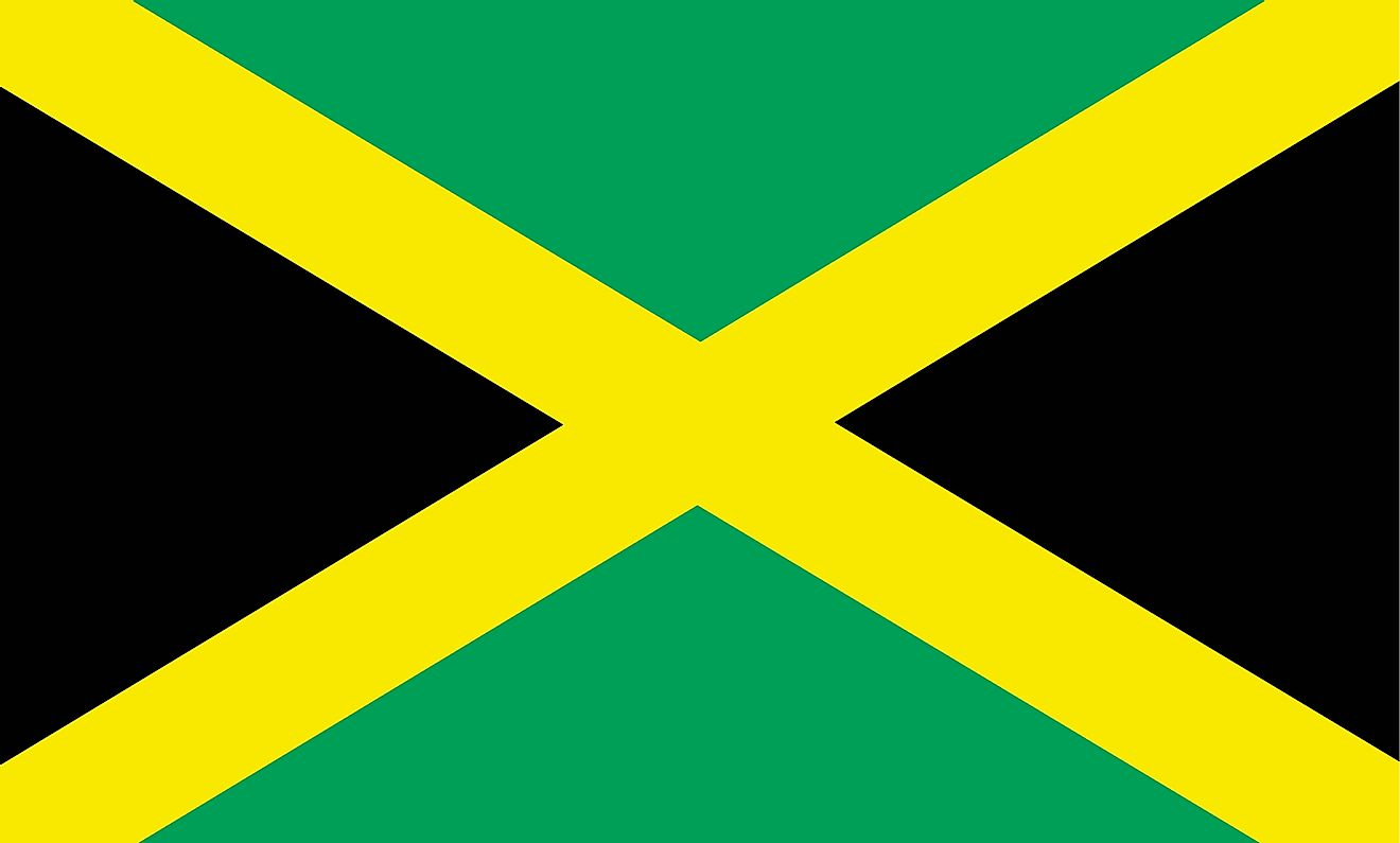 The flag of Jamaica consists of a gold saltire, which divides the flag into four triangles: two of them green (top and bottom) and two black (hoist and fly)