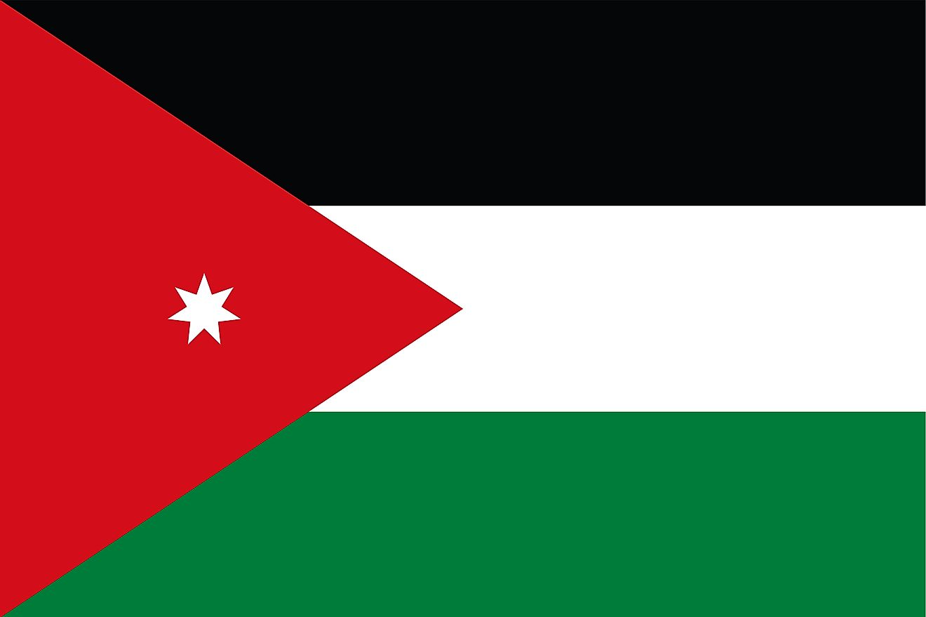 The flag of Jordan consists of three horizontal bands of black (top), white, and green and red chevron with base on the hoist side containing a white, 7-pointed star.