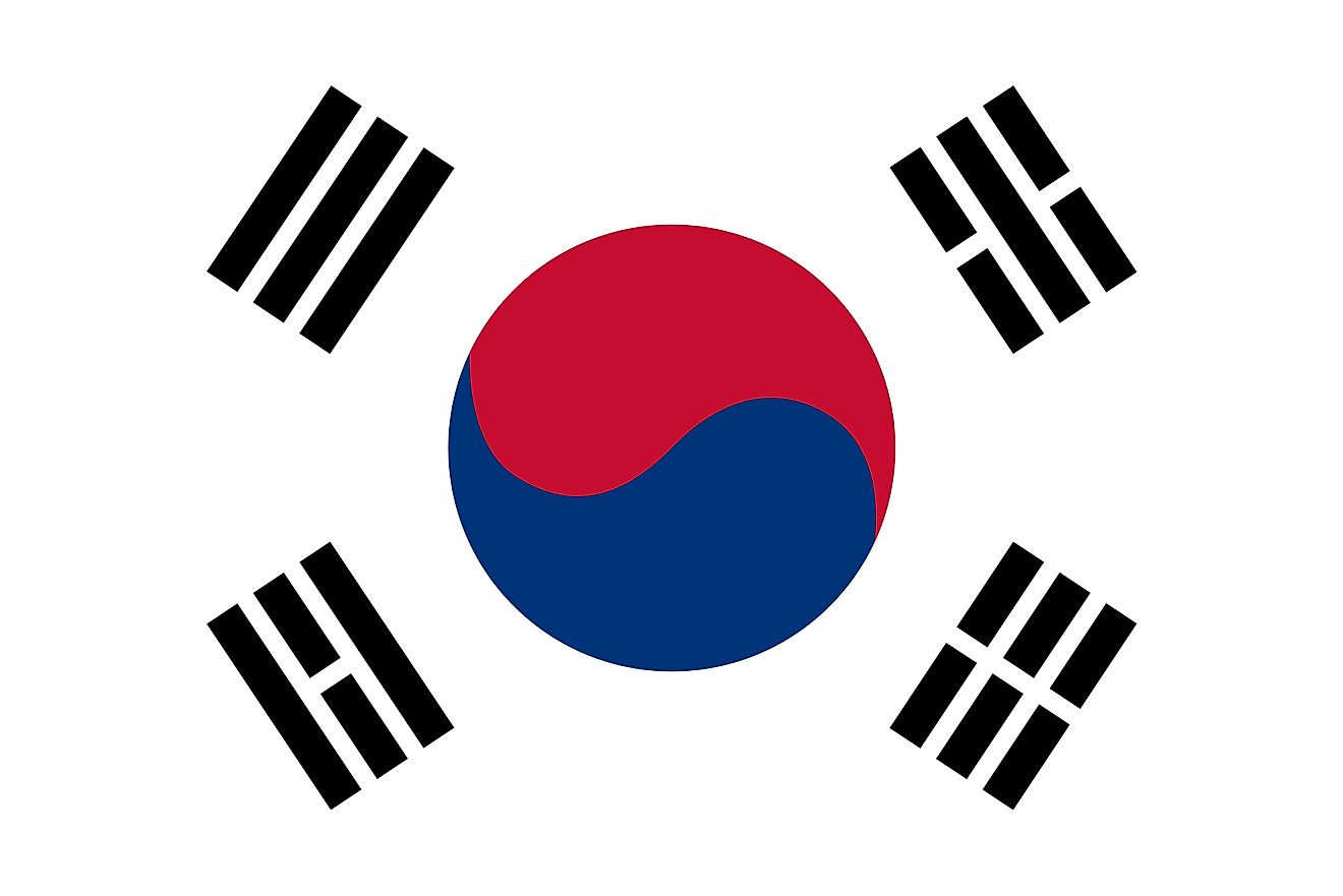 The national flag of South Korea consists of a white background and Taeguk at the center, surrounded by four trigram, one one each corner of the flag.