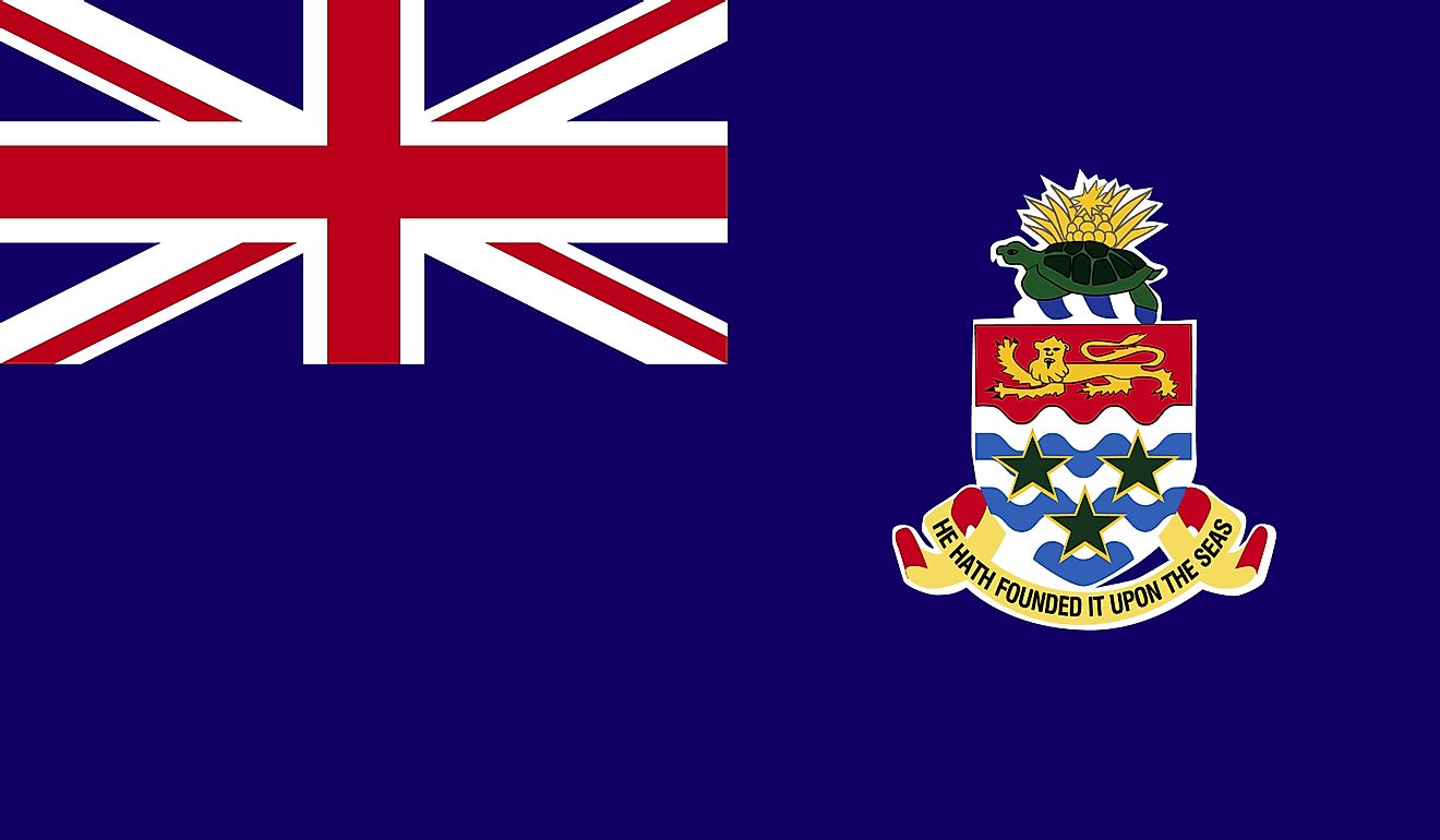 The flag of Cayman Island consists of a blue field with the Union Jack on the upper hoist and national coat of arms on the fly.