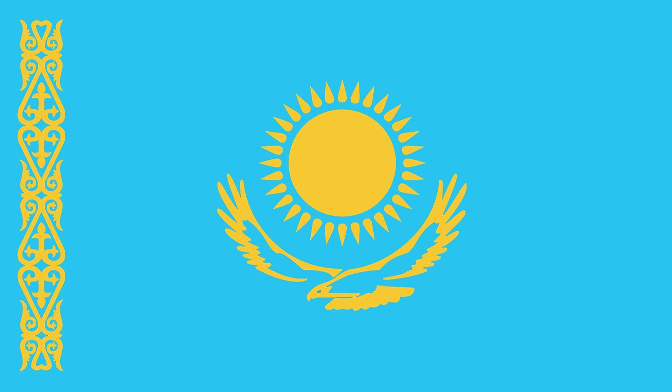 "The national flag Kazakhstan consists of a blue field with gold sun with 32 rays above a soaring golden steppe eagle in the middle and a  national ornamental pattern ""koshkar-muiz"" (the horns of the ram) in gold on the hoist."