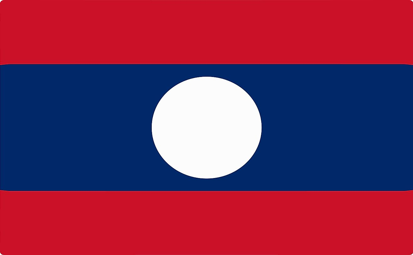 The flag of Laos consist of two equal red horizontal bands (top and bottom) and a large blue band with white disc in the middle