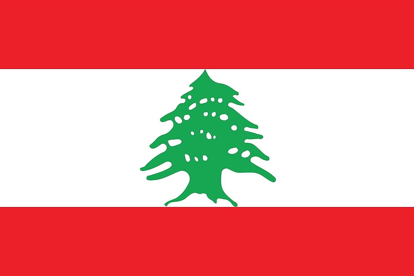 The flag of Lebanon is a tricolor flag of red (top), white (double width), and red horizontal bands with green cedar tree centered on white