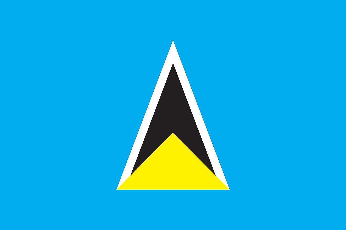 The flag of Saint Lucia consists of a cerulean blue with a golden triangle in front of white-edged black isosceles triangle.