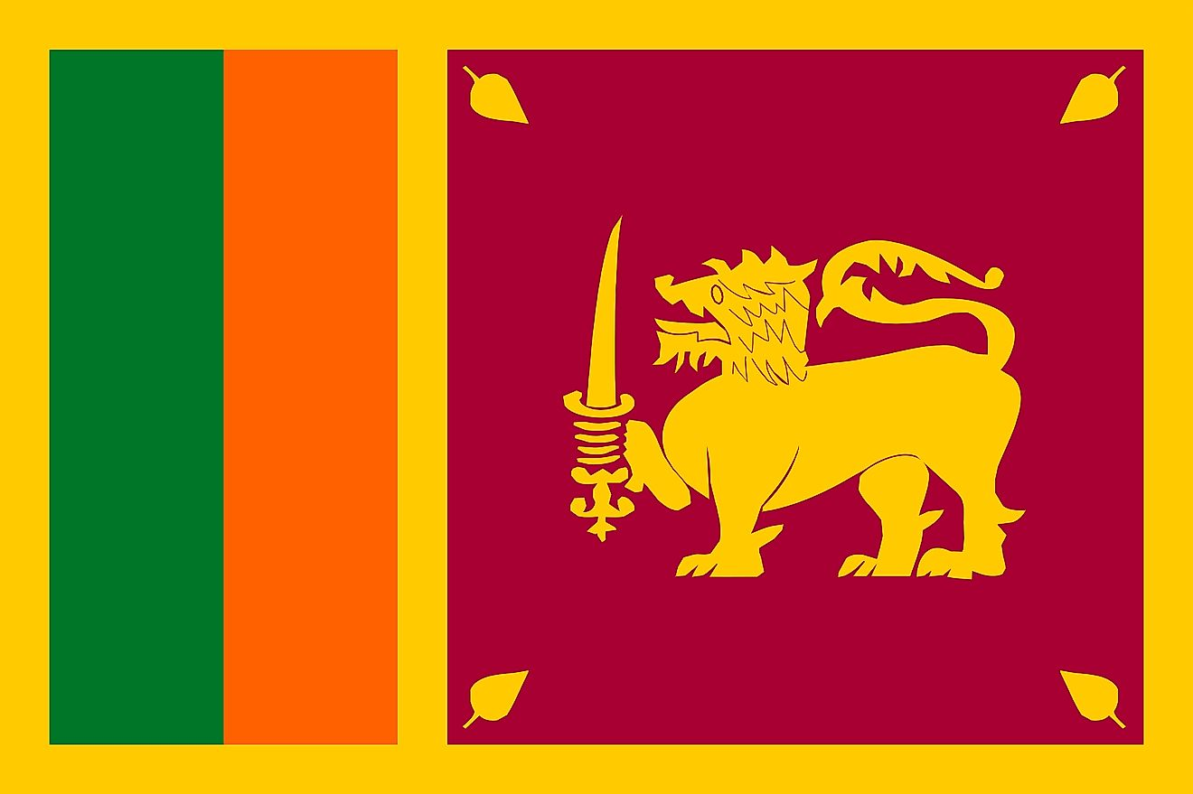 The flag of Sri Lanka consists of a golden yellow background with two equal vertical stripes of dark turquoise green (left) and orange (right) and maroon-colored rectangle with image of a golden lion.