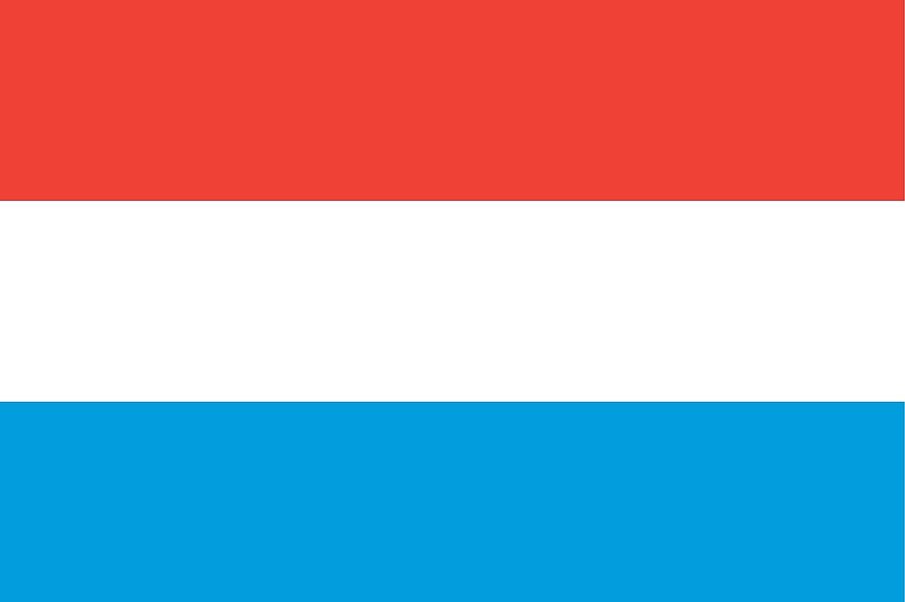 The flag of Luxembourg is a tricolor flag of three equal horizontal bands of red (top), white, and light blue.