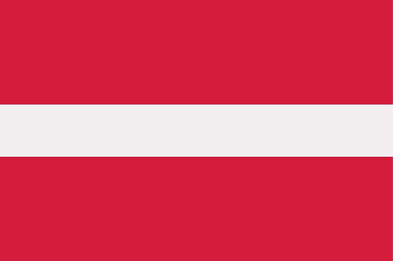 The flag of Latvia is a tricolor flag of three horizontal bands of carmine (top), white (half-width), and carmine.