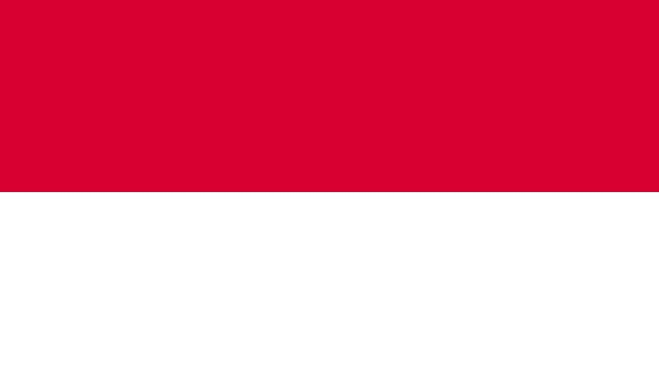 The flag of Monaco is a bicolor flag of Red (top) and white equal horizontal bands.