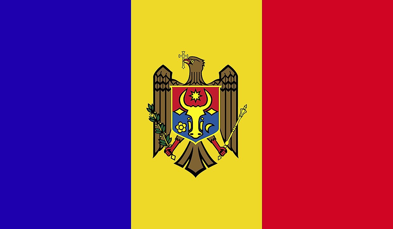 The flag of Moldova is a tricolor flag of Prussian blue (hoist), chrome yellow, and vermilion red equal vertical bands with the national coat of arms centered on yellow.