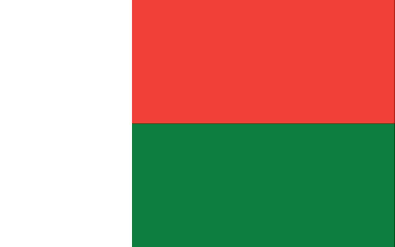 The flag of Madagascar is a tricolor flag of two horizontal bands of red (top) and green and a white vertical band on the hoist side.