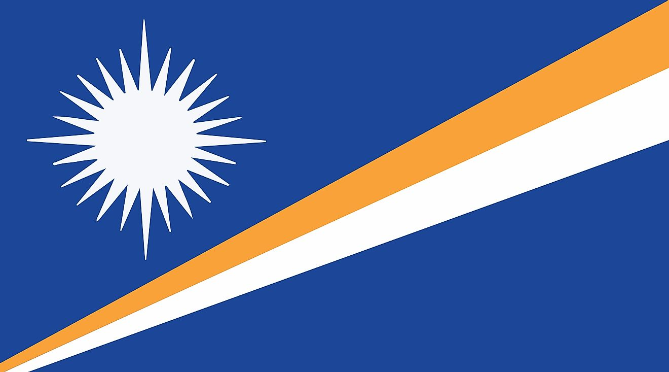 The National Flag of the Marshall Islands features a deep blue background with two stripes - orange (top) and white, with a white star placed above the two stripes