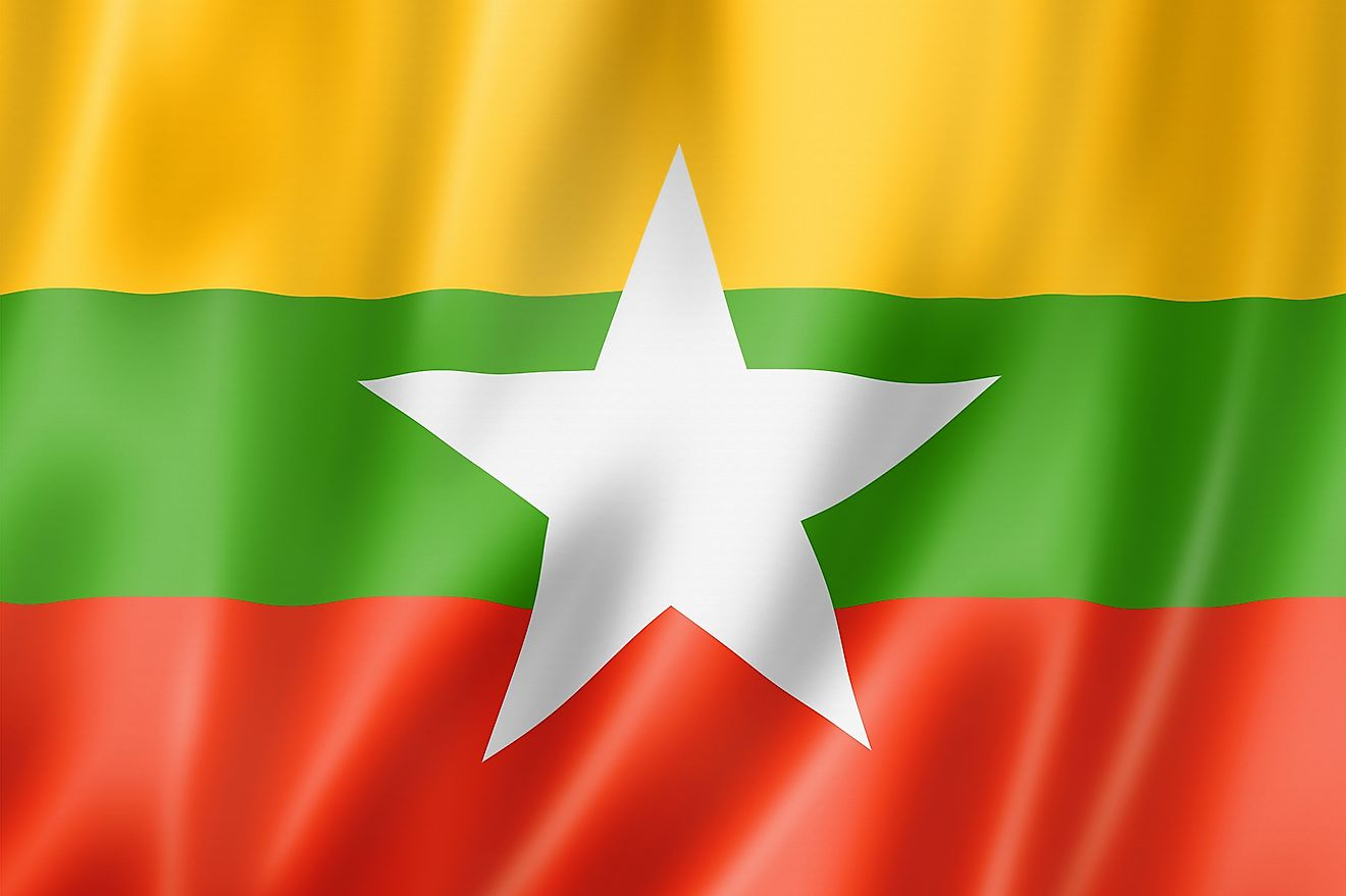 The national flag of Burma consists of three equal horizontal stripes of yellow (top), green, and red with a large white five-pointed star centered on green and partially overlaps onto the adjacent colored stripes