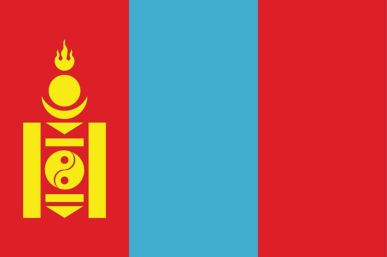 The flag of Mongolia consists of three, equal vertical bands of red (hoist side), blue, and red, with the national emblem centered on hoist-side red band.