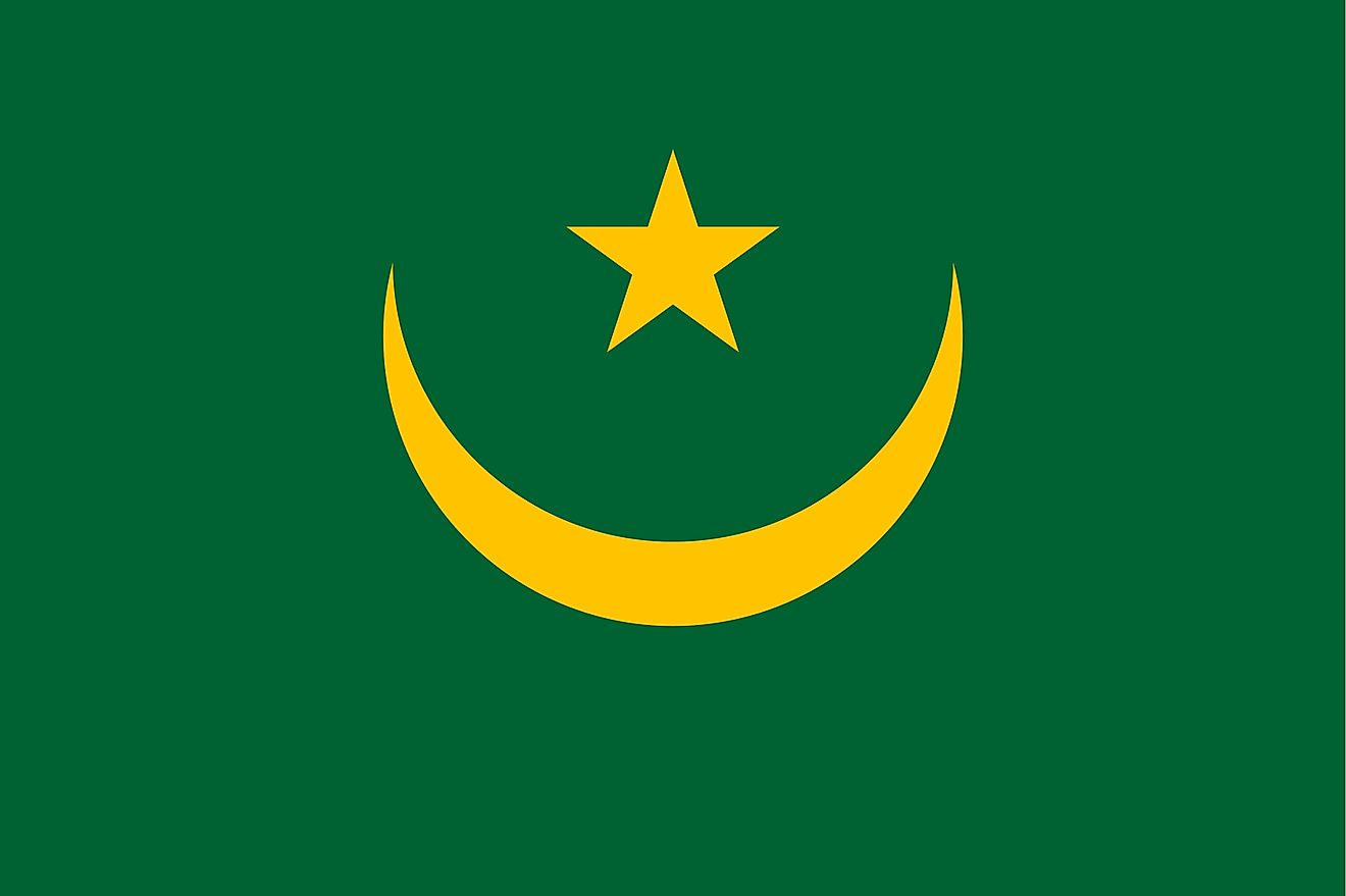 The flag of Mauritania consists upward facing gold crescent moon with five-pointed star between the horns on a green field with red stripe on top and at the bottom