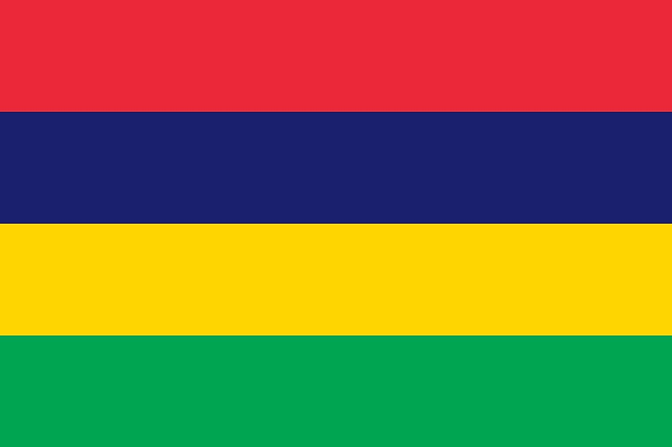 The flag of Mauritius, also known as Four Band, consists of four equal horizontal bands of red (top), blue, yellow, and green.