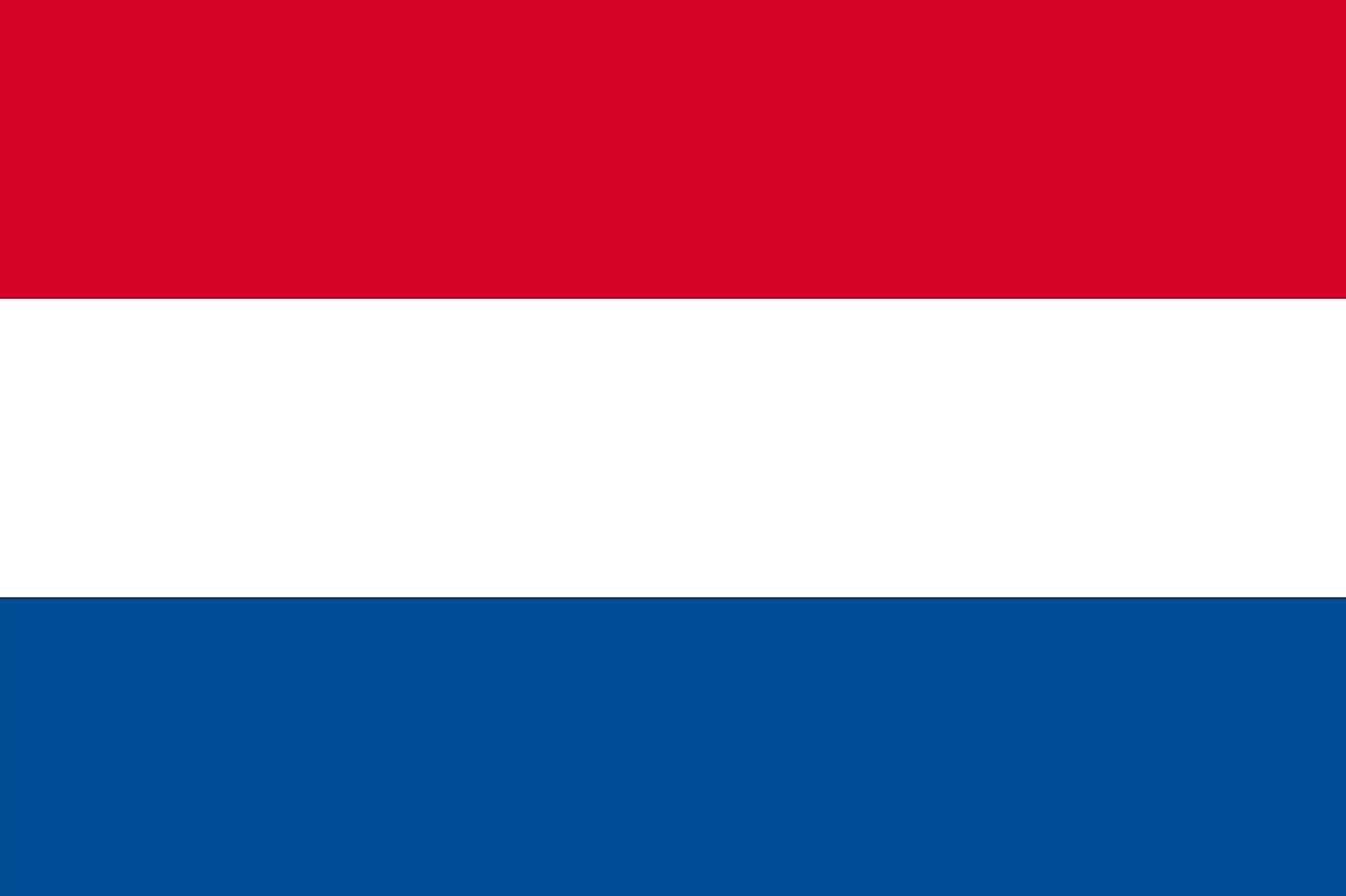 The national flag of the Netherlands is a tricolor of three equal horizontal bands of red (top), white, blue.