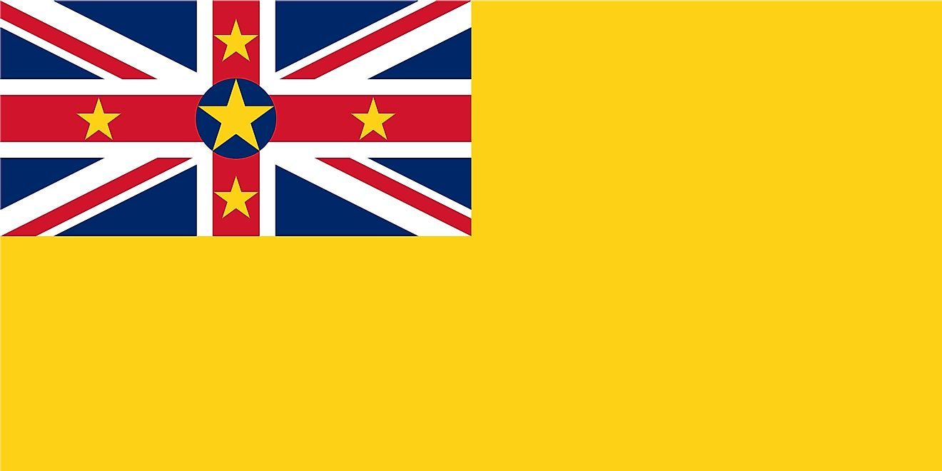 The National Flag of Niue features a golden yellow background with the flag of the United Kingdom (Union Jack) in the upper hoist-side quadrant.
