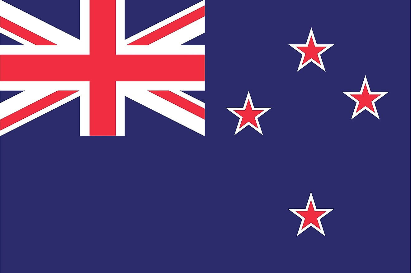 The flag of New Zealand consists of a blue field with Union Jack on the canton and four red stars centered on white stars.