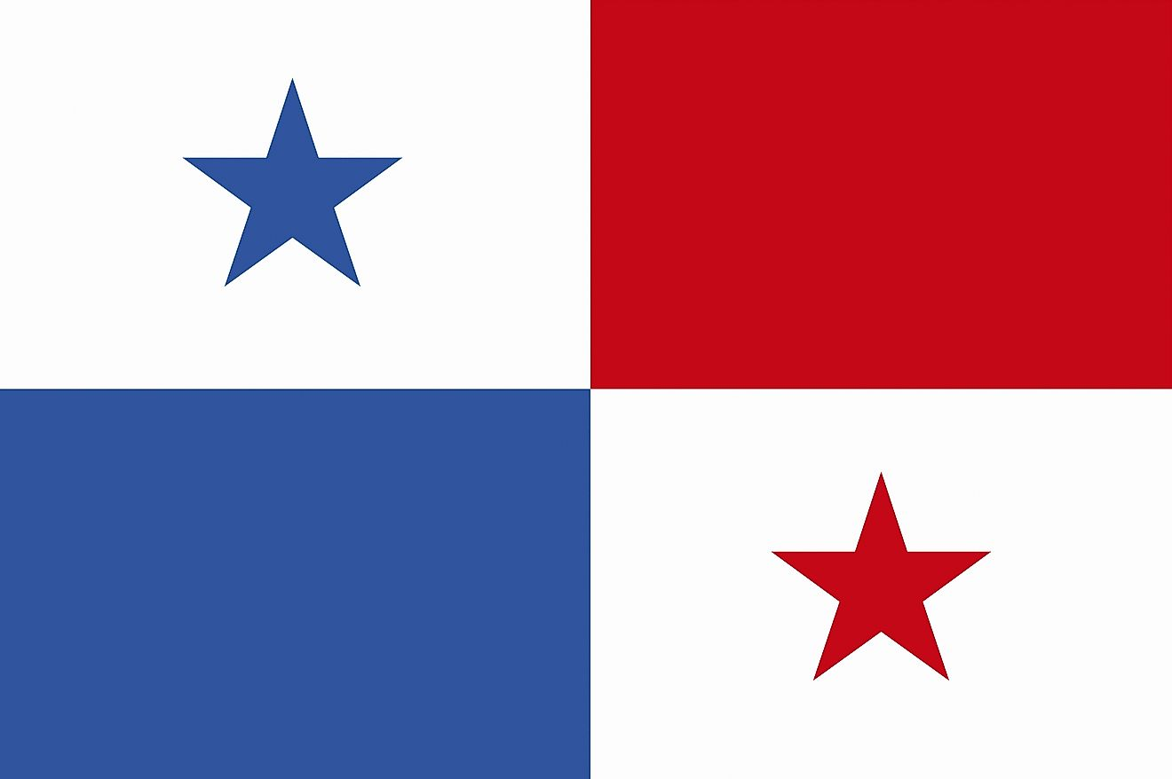 The flag of Panama consists of four equal rectangles of white (with 5-pointed blue star) and red on the upper quadrant, and blue and white (with 5-pointed red star) on the lower quadrant.