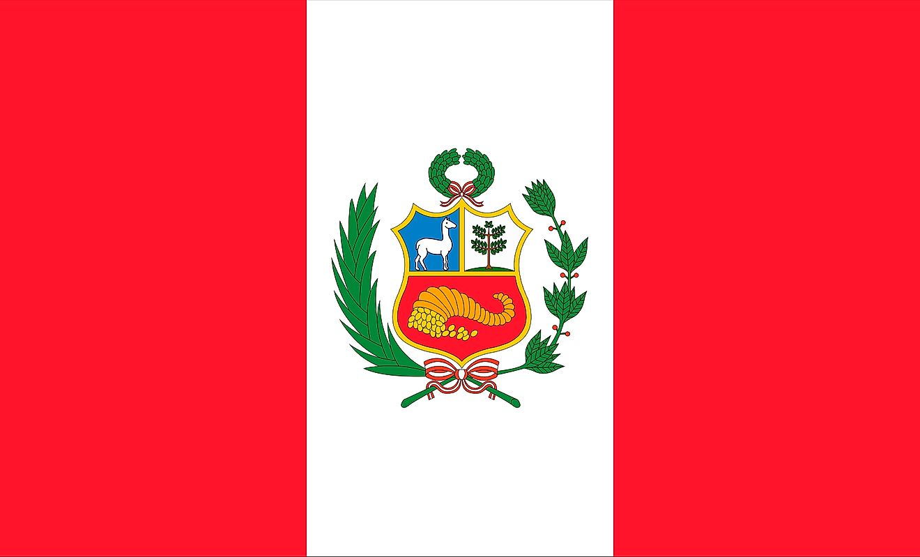 The national flag of Peru is a bicolor flag of three vertical stripes of red (hoist), white, and red, with the national emblem centered on white.