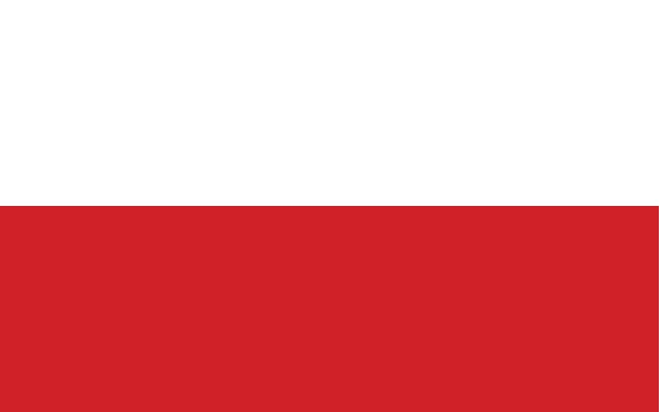 The National Flag of Poland features two equal horizontal bands of white (top) and red.