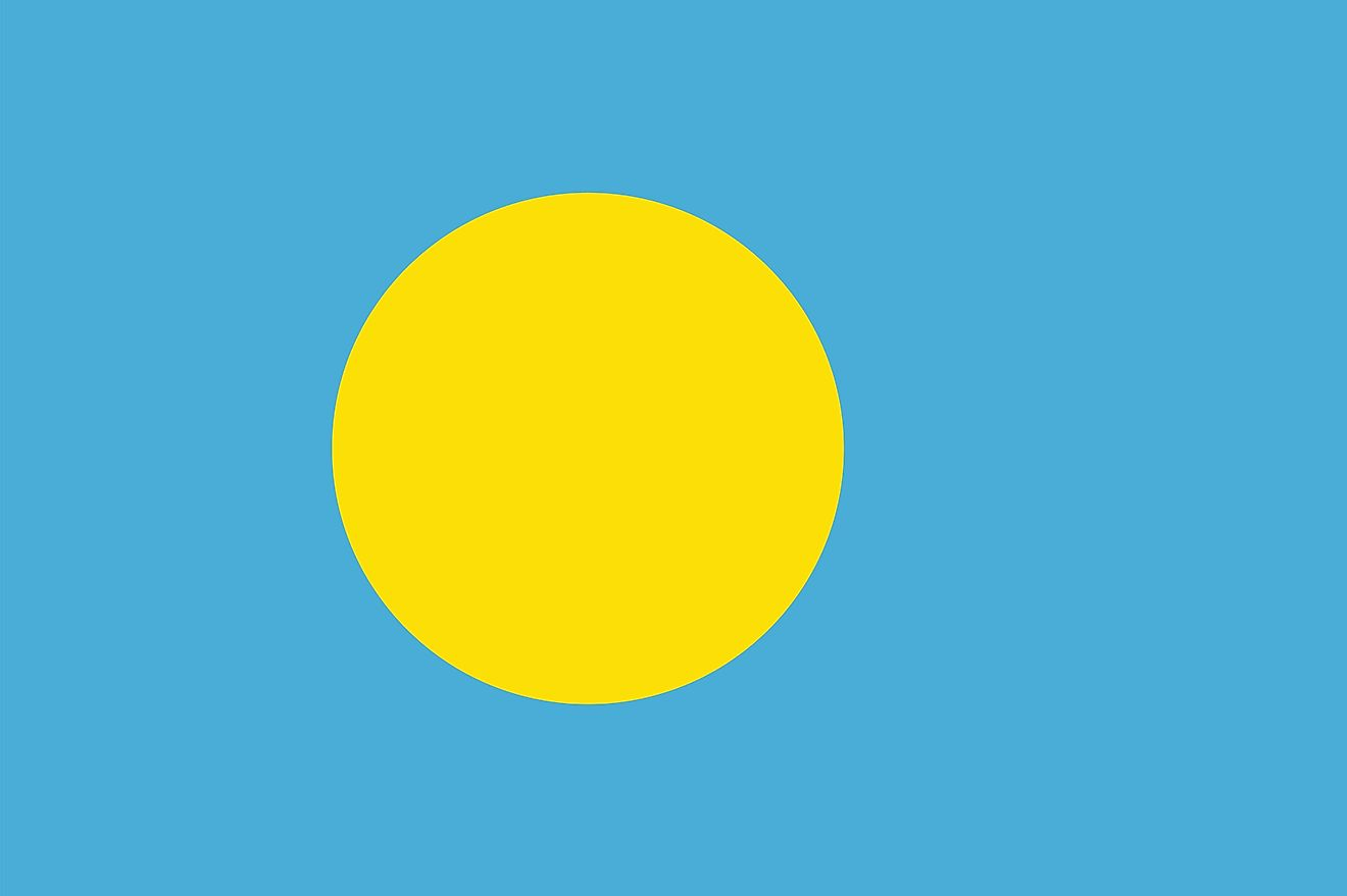 The national flag of Palau with a yellow disk representing the moon in a light blue background symbolizing the ocean.