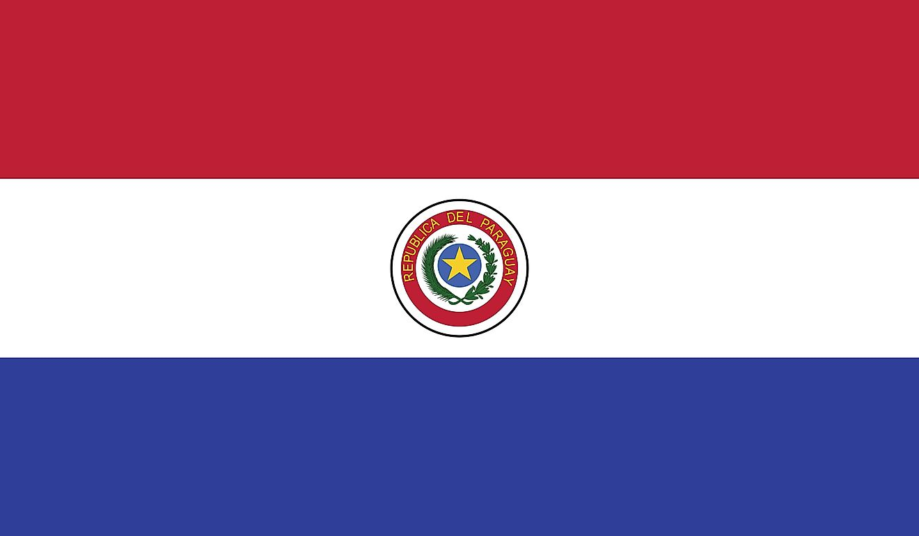 The National Flag of Paraguay features three equal, horizontal bands of red (top), white, and blue with an emblem centered in the white band. The flag of Paraguay contains different designs on its obverse (front) and reverse (back) sides, which makes it u