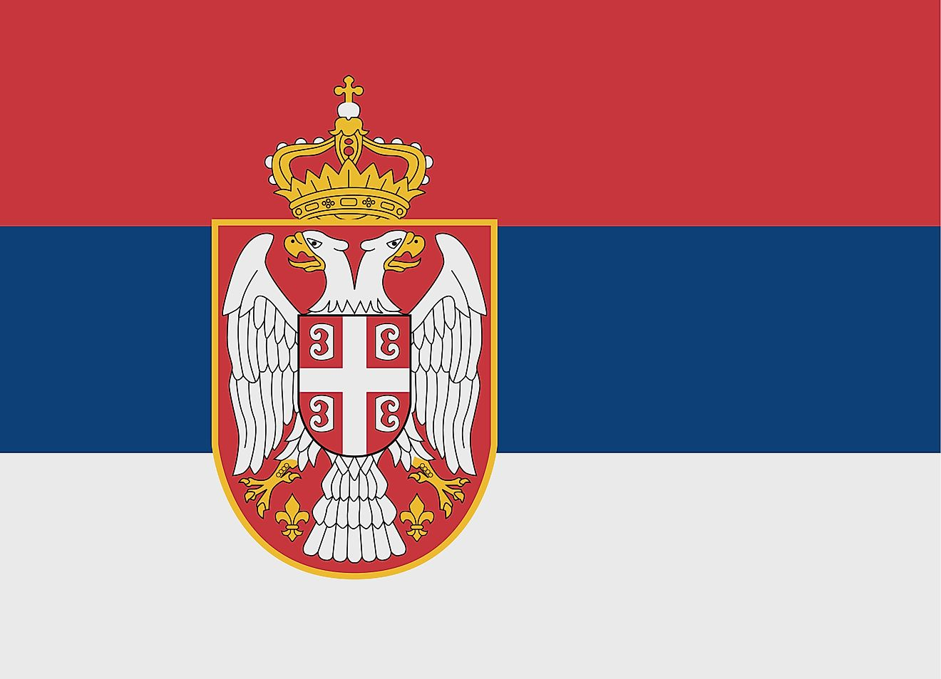 The National Anthem of Serbia features three equal horizontal stripes of the traditional Pan-Slavic colors - red (top), blue, and white; with the coat of arms placed towards the flag's hoist side