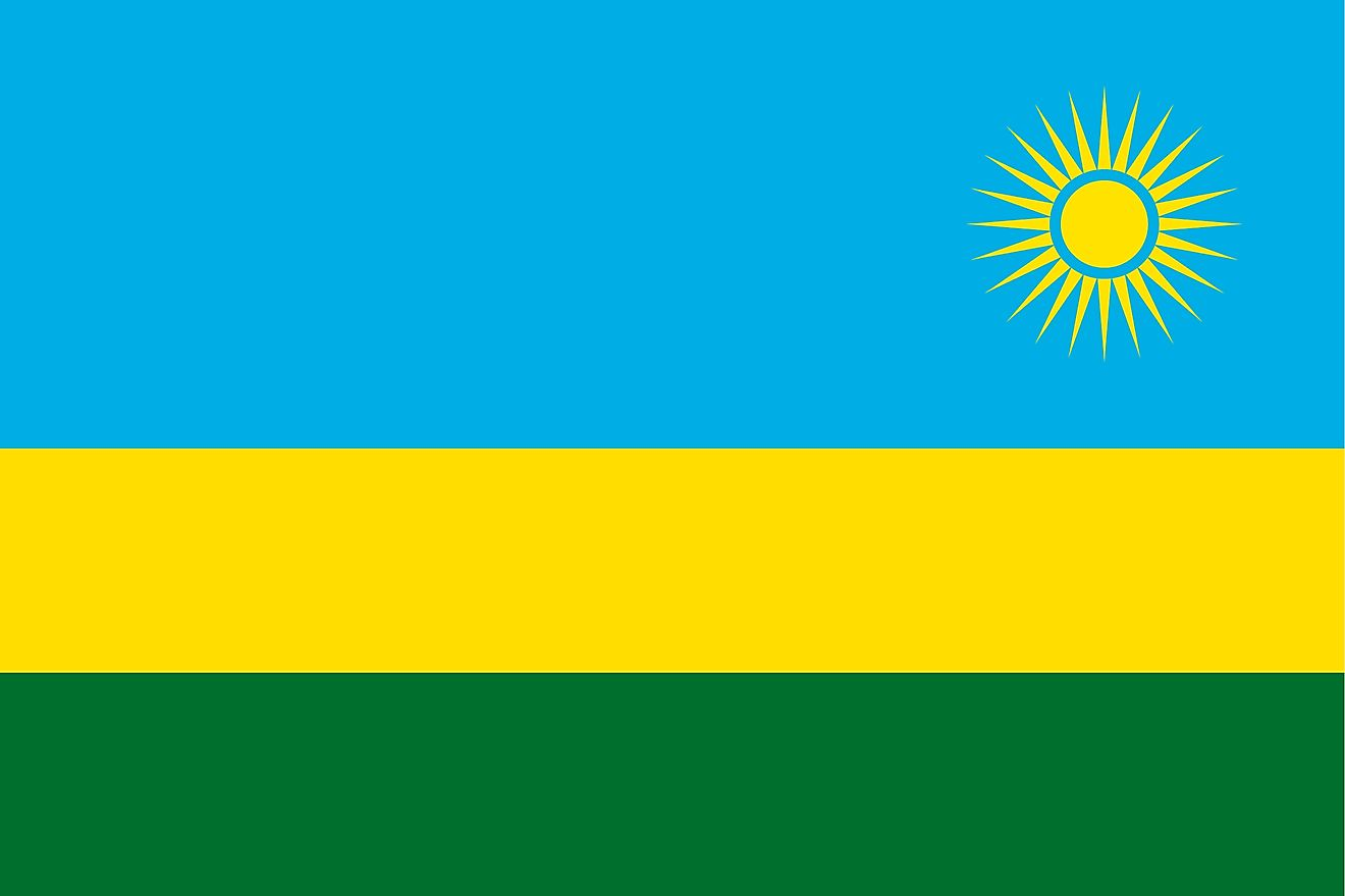 The National Flag of Rwanda is a tricolor featuring three horizontal bands of sky blue (top, double-width), yellow, and green, and a golden sun with 24 rays is placed near the fly end of the blue band.