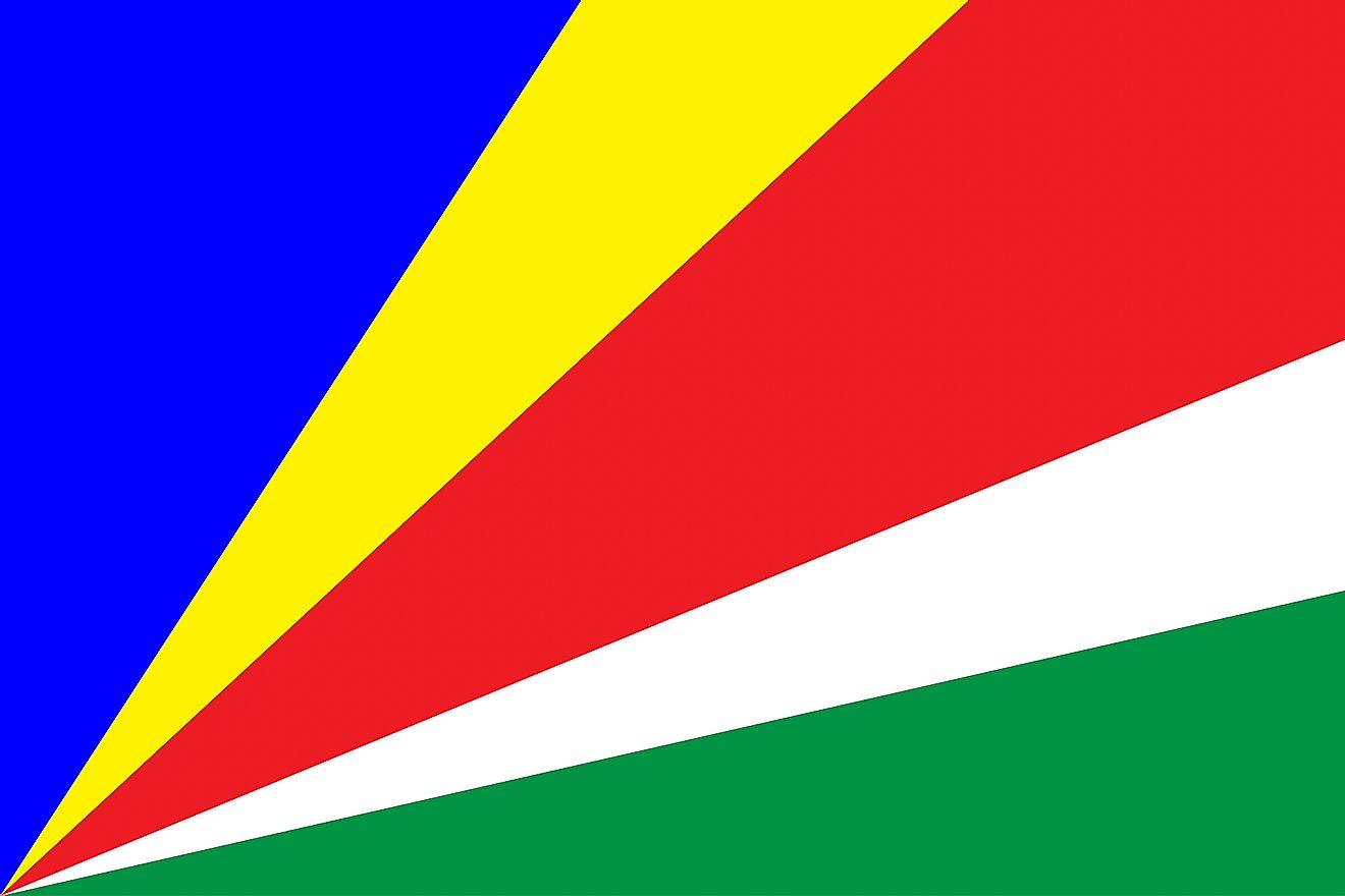 The National Flag of Seychelles features five oblique bands of blue (hoist side), yellow, red, white, and green (bottom) radiating from the lower corner of the flag towards the hoist side and then diverge as the move towards the other end.
