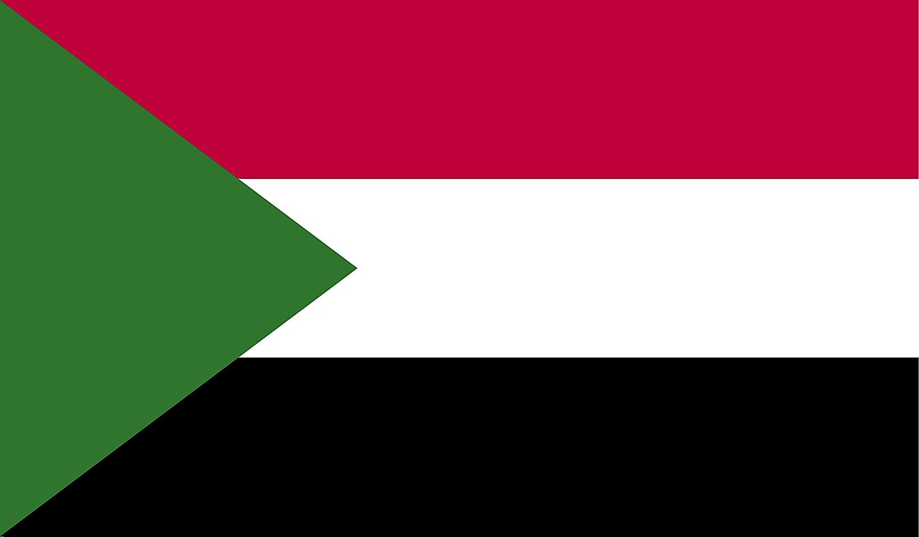 The National Flag of Sudan features three equal horizontal bands of red (top), white, and black with a green isosceles triangle based on the hoist side.