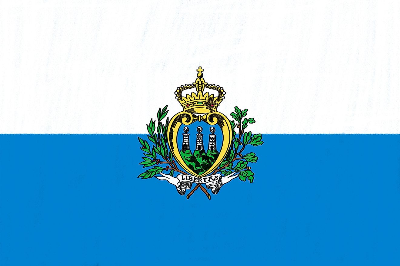 The National Flag of San Marino features two equal horizontal bands of white (top) and light blue with the national coat of arms superimposed in the center.
